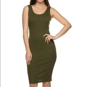 Olive green Cotton on tank dress